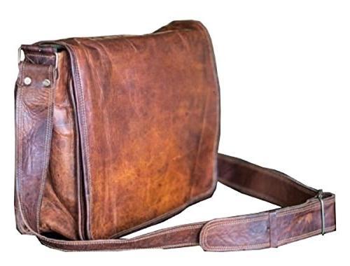 leather flap messenger handmade bag