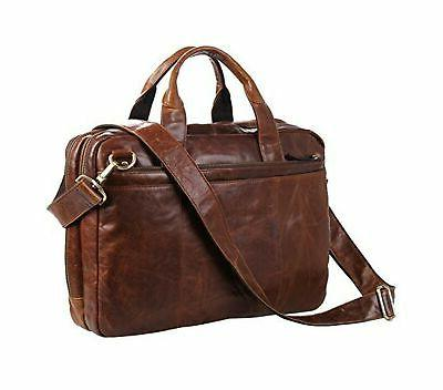 leather laptop bag 15inch waxed oil shoulder