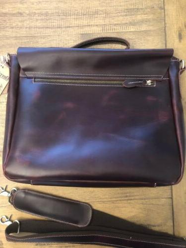 """Berchirly Leather Waxed Oil Messenger Bag 15"""""""