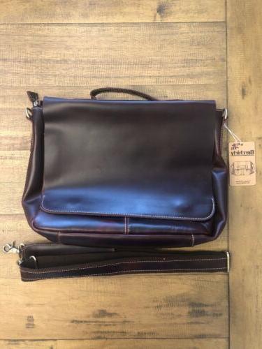 leather laptop bag waxed oil shoulder messenger