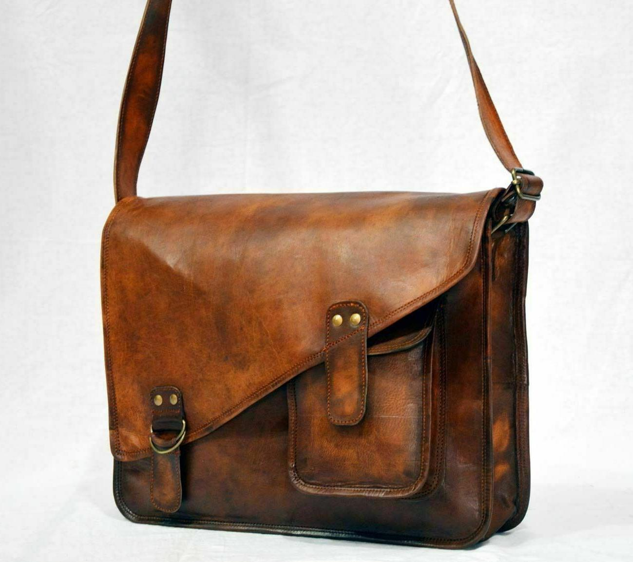 Genuine Leather Laptop Messenger Bag Brown Men's Crossbody F