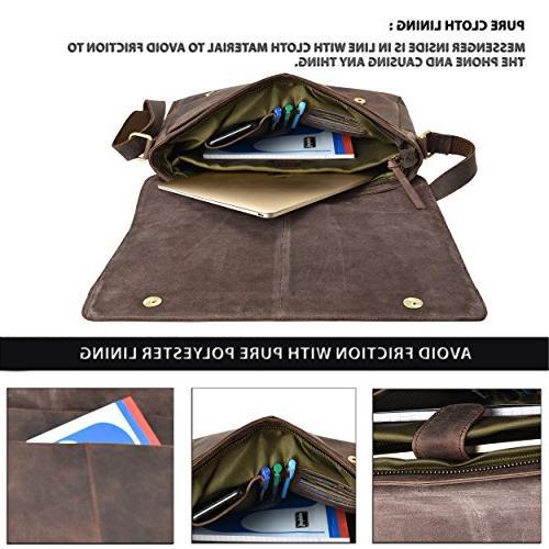 """Leather Messenger Bag for Men Office Briefcase 16"""" MacBook Professional Mens Side"""