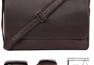 leather messenger bag for men laptop satchel
