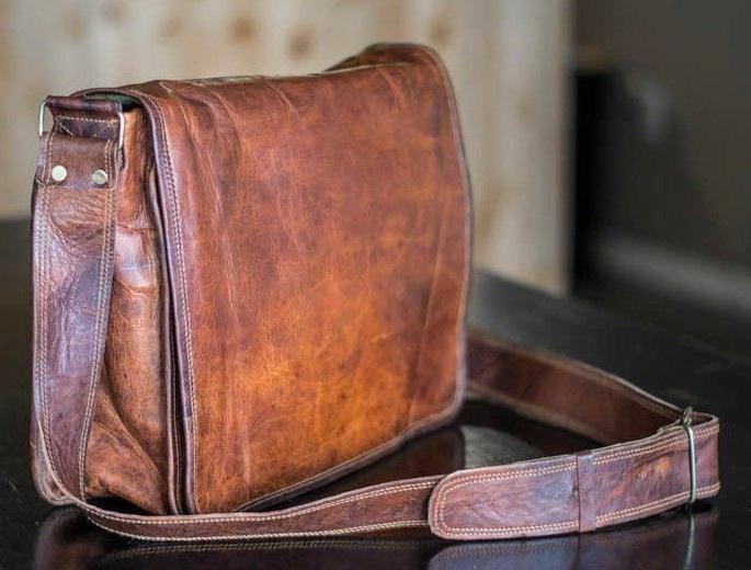 Handmade Men's Genuine Leather Vintage Laptop Messenger  Bri