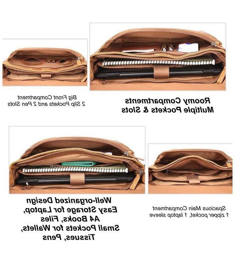 Leather Messenger Women Padded Laptop - Banuce Italian Leather