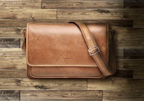leather messenger bag men women padded laptop