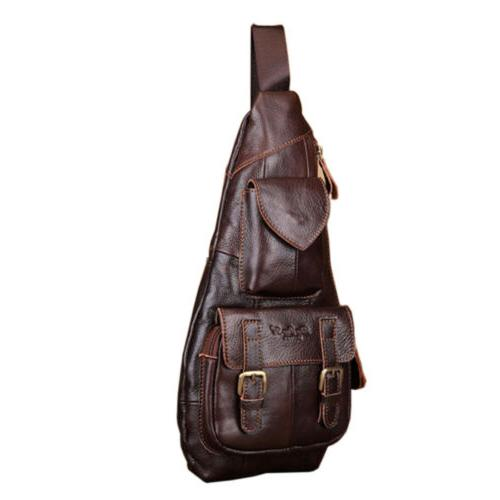 Leather Sling Bag Backpack for Shoulder Chest