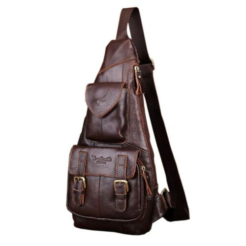 Leather Backpack Men Chest Pack