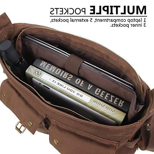 "Lifewit 17.3"" Bag Leather Military Shoulder Laptop"