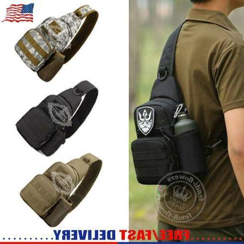 men backpack molle tactical sling chest bag