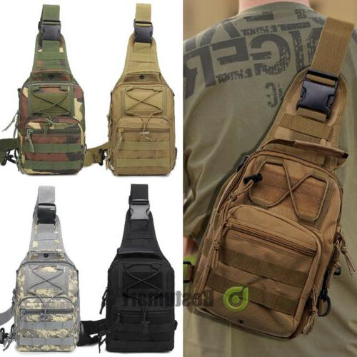 men backpack molle tactical sling chest pack