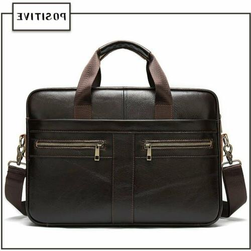 MVA Men Business Leather Briefcase Laptop Handbag Bag