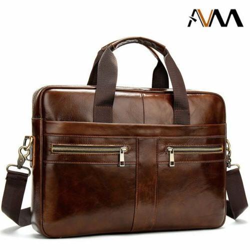 MVA Men Business Genuine Leather Briefcase Shoulder Handbag