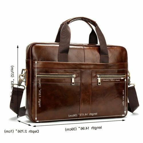 MVA Business Leather Briefcase Laptop Handbag Messenger Bag