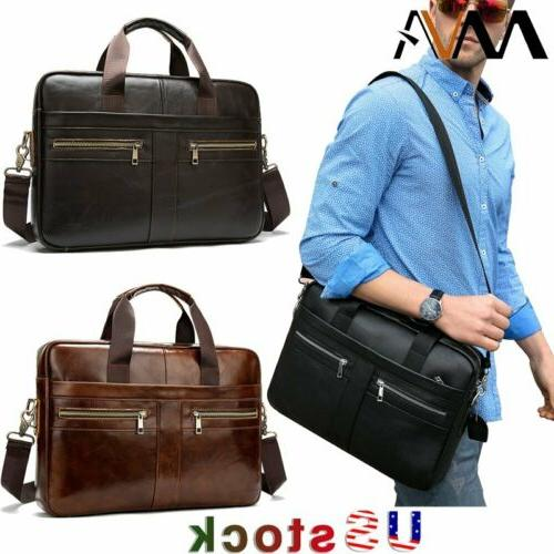 men business genuine leather briefcase laptop shoulder