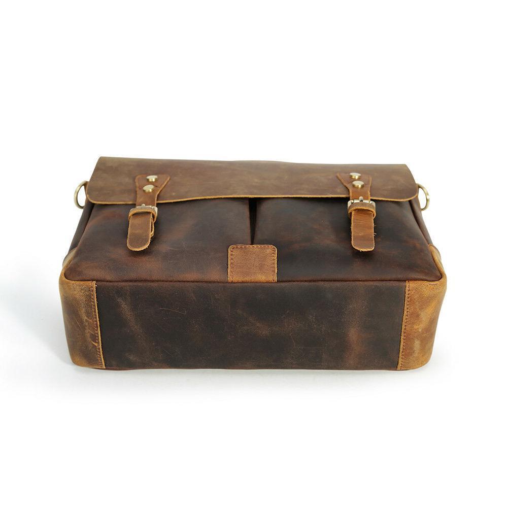 """Men Leather 14"""" Laptop Handbag Messenger Bag"""
