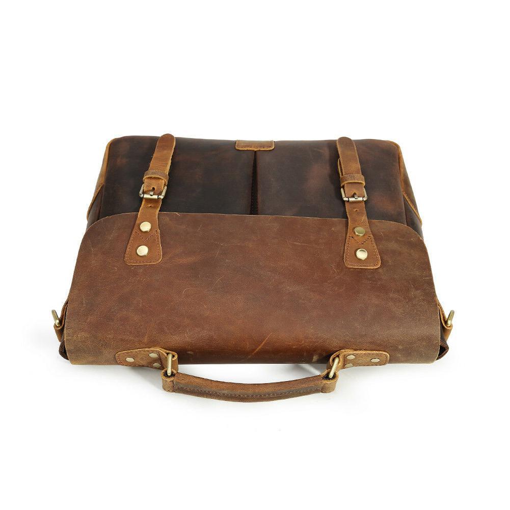 """Men Leather Briefcase 14"""" Handbag"""