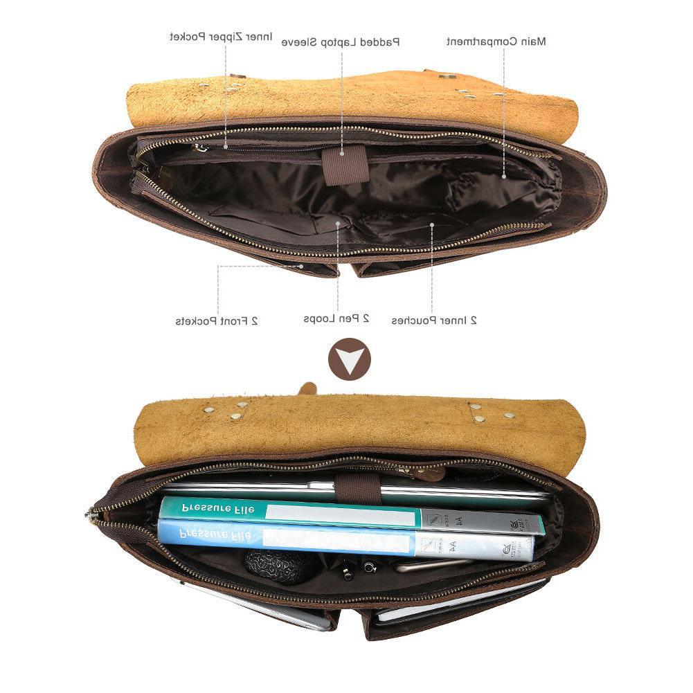 """Men Genuine 14"""" Laptop Handbag Shoulder Messenger Bag"""