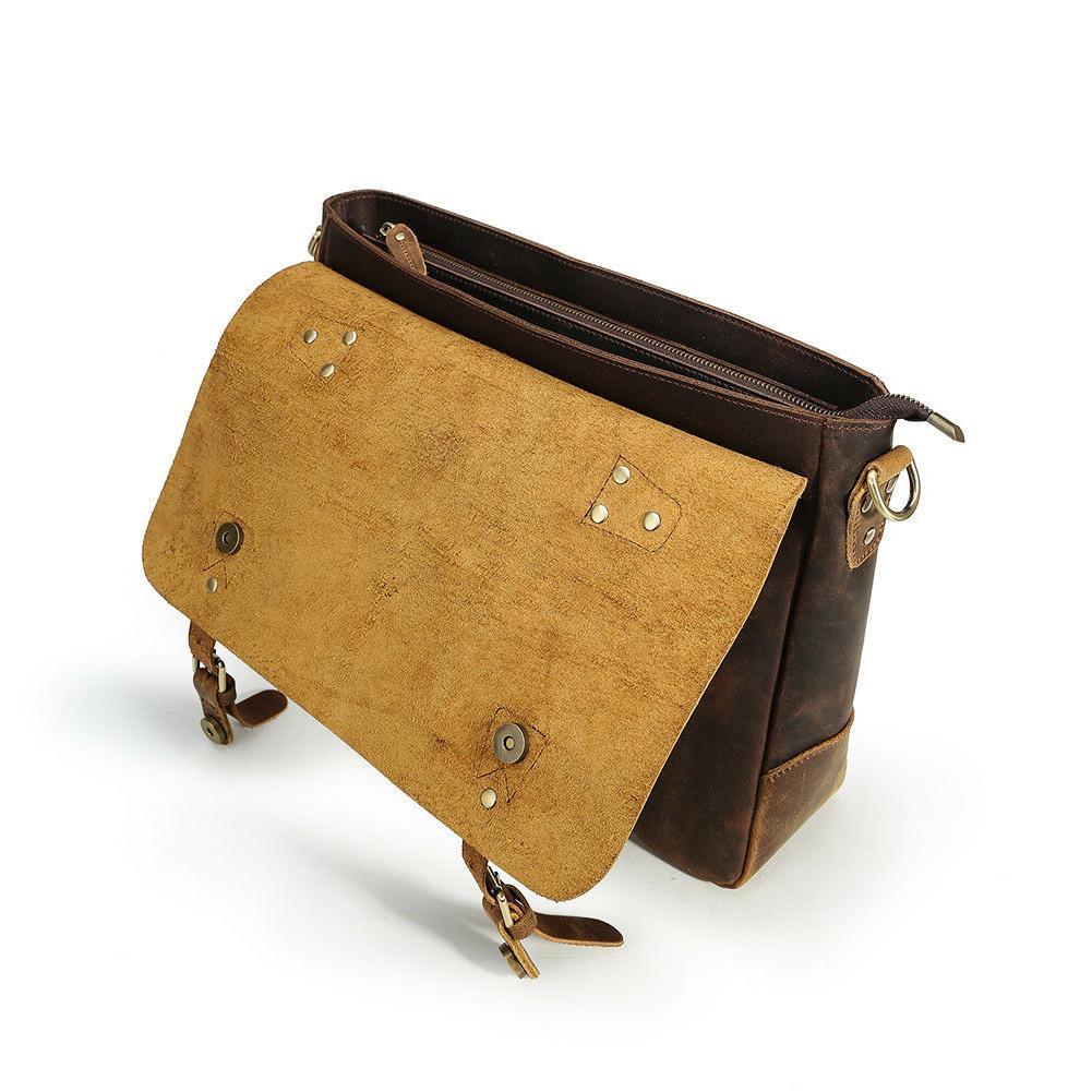 """Men Leather 14"""" Laptop Shoulder Messenger Bag"""