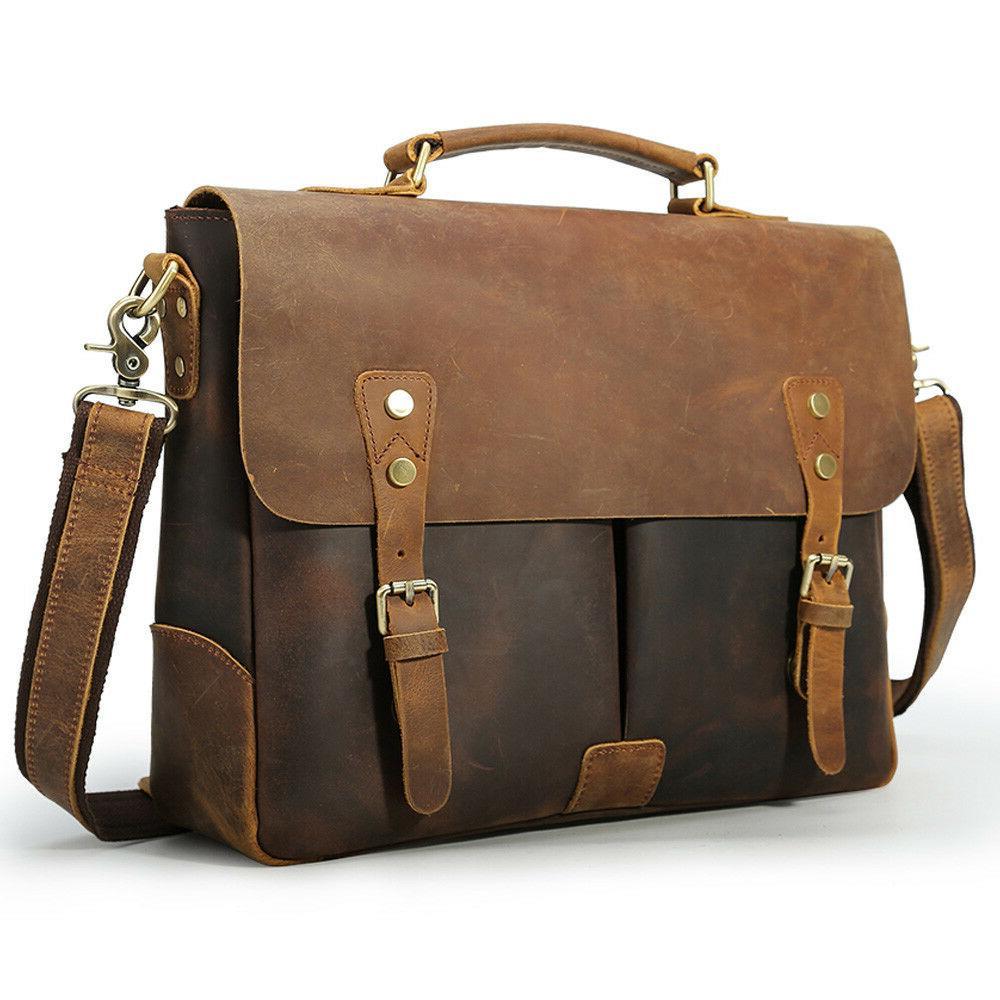 men genuine leather briefcase 14 laptop handbag