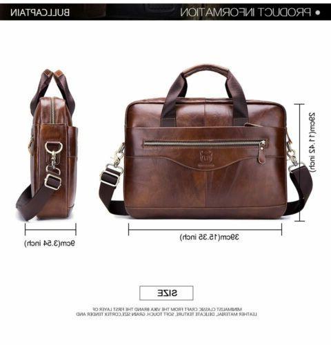 BULLCAPTAIN Men Leather Business Briefcase Shoulder