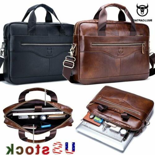 men genuine leather business briefcase laptop messenger