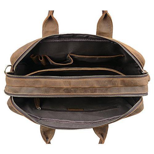 Jack/&Chris Mens Handmade Leather Briefcase Laptop Bag Messenger Shoulder Bag,NM1862-90