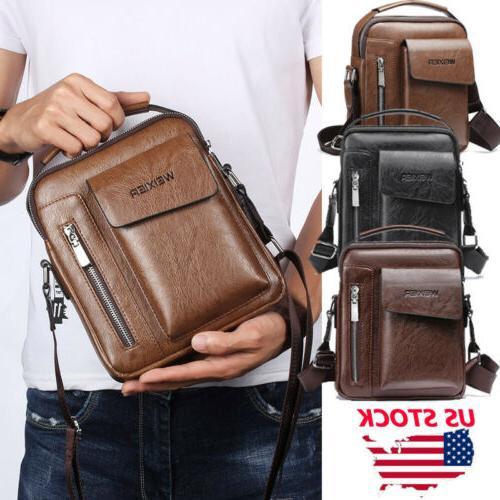 Men Leather Crossbody Messenger Shoulder Bag Satchel Small H