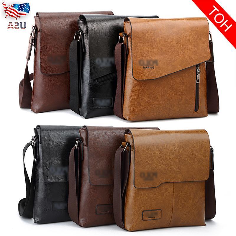men leather messenger shoulder bag business crossbody