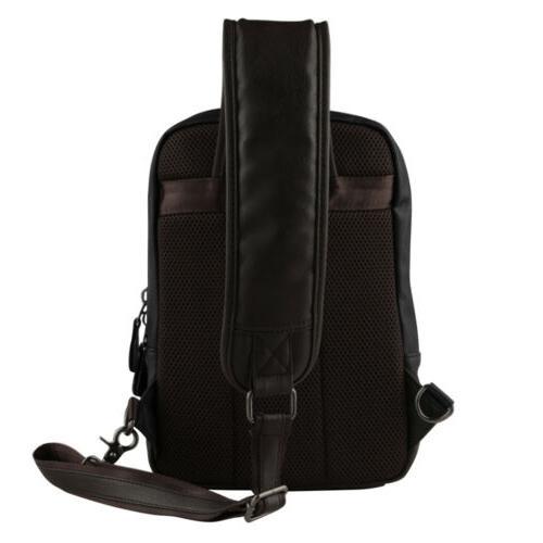 Men Leather Sling Bag Crossbody Travel Backpack Pack