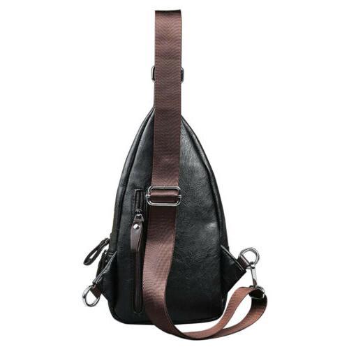 Men Leather Sling Chest Bag Shoulder Messenger Travel Backpack Pack