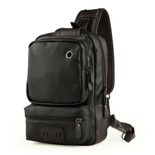 Men Leather Chest Bag Shoulder Messenger Travel