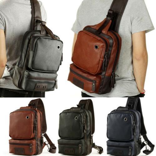 men leather sling chest bag crossbody shoulder
