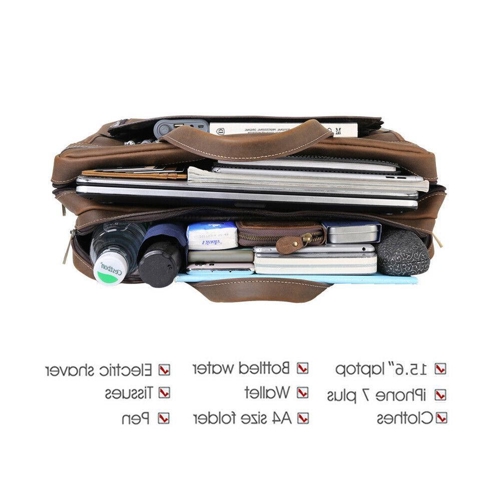 """Men Leather 15"""" Laptop Shoulder Messenger Bag Satchel"""