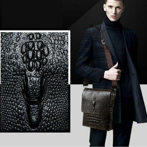 Men's Alligator PU Leather Messenger