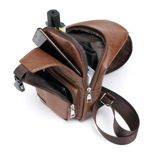 Men's Leather Sling Chest Bag Backpack