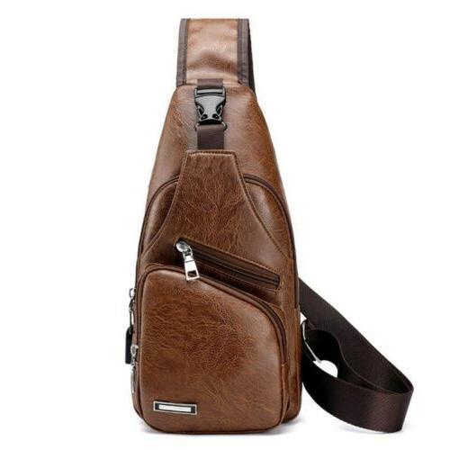 Men's Boy's Leather Chest Backpack Satchel