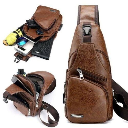 men s boy s leather sling chest