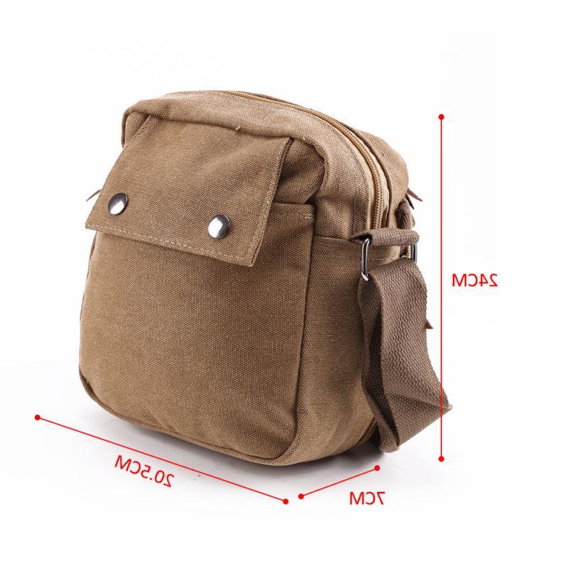 Men's Leather School Military Shoulder Messenger Bag Vintage