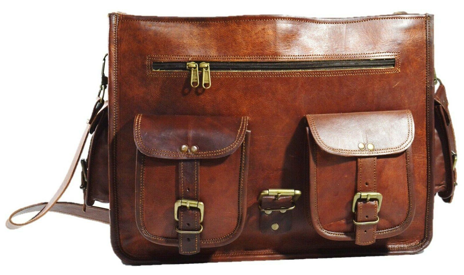 Men's Genuine Leather Messenger Laptop Satchel School Style Briefcase
