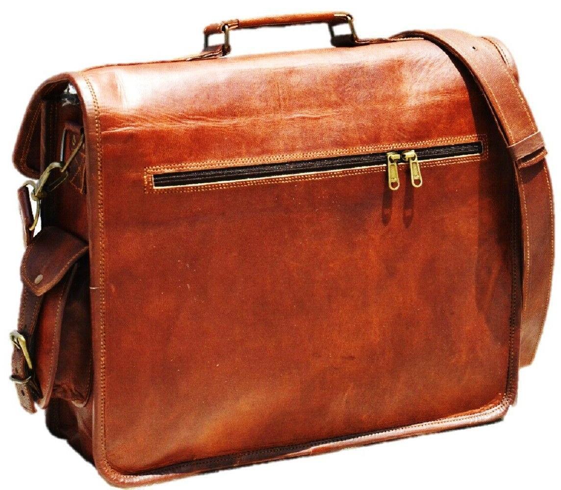 Men's Leather Messenger Laptop Style Briefcase