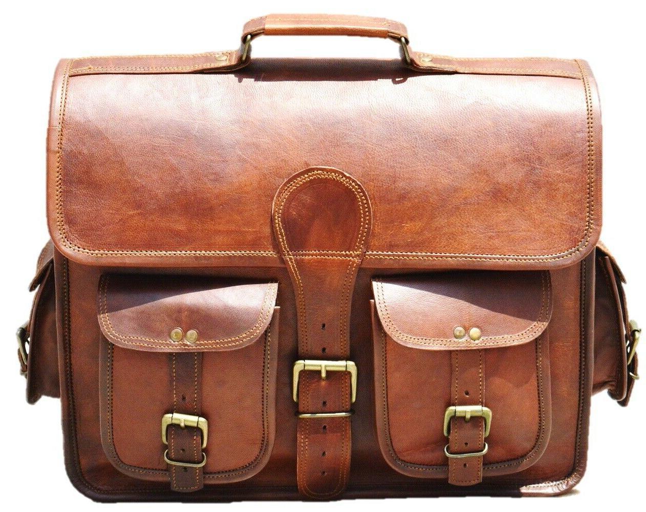 Men's Genuine Leather Messenger Laptop Style Briefcase