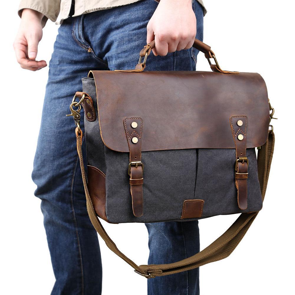 """Men's Canvas Shoulder 14"""" Laptop Bags"""