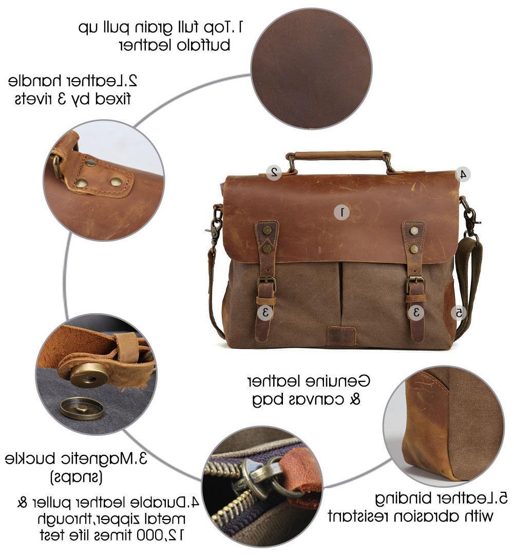 Men's Leather Shoulder Satchel Laptop Bags