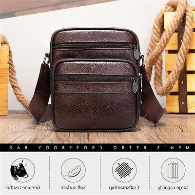 Vintage Mens Leather Messenger Bag Cross-body Sling Shoulder