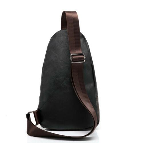 Men's Leather Chest Shoulder Bag Backpack Biker