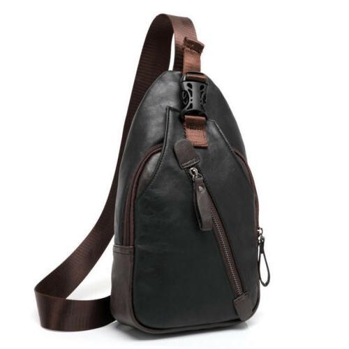 Men's Leather Pack Chest Shoulder Backpack Biker Satchel