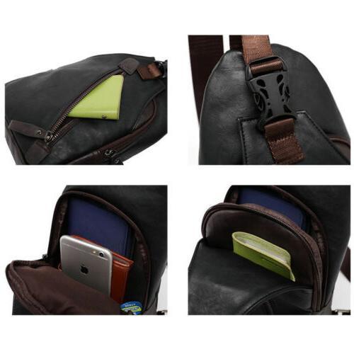 Men's Leather Sling Pack Chest Backpack