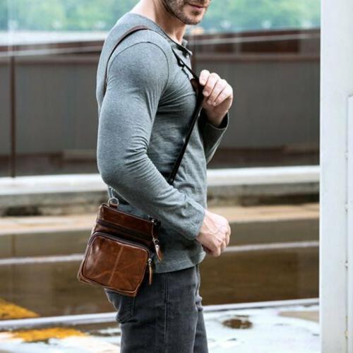 Men's Genuine Leather Small Flap Crossbody Bag Messenger Purse
