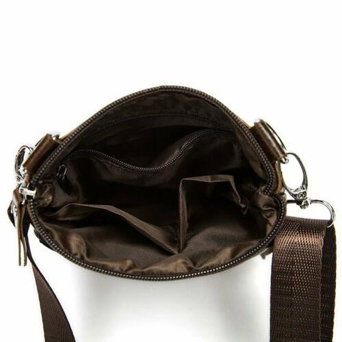 Men's Genuine Leather Small Flap Shoulder Bag Messenger Purse